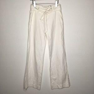 J. Crew City Fit Linen Blend Tie Front Pants SZ 0